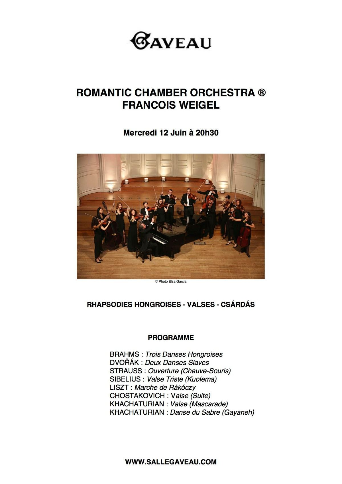 2019 Romantic Chamber Orchestra Weigel Program